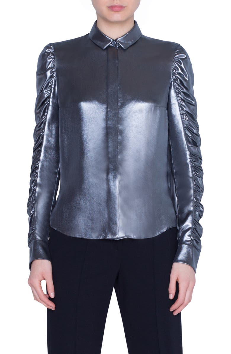AKRIS PUNTO Ruched Sleeve Metallic Crepe Blouse, Main, color, SILVER