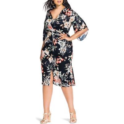 Plus Size City Chic Floral Seduction Sheath Dress, Black