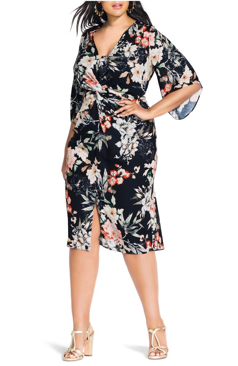 CITY CHIC Floral Seduction Sheath Dress, Main, color, FLORAL SEDUCTION BLK