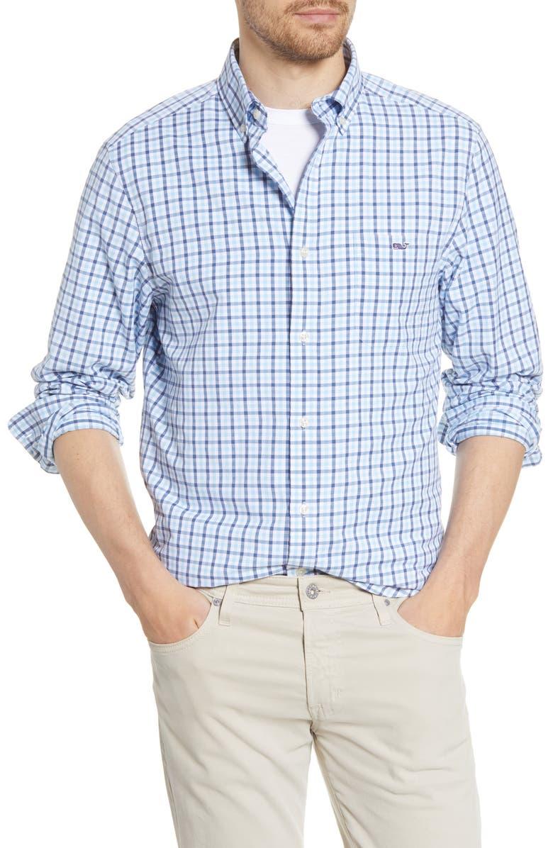 VINEYARD VINES Tucker Mizpah Plaid Button-Down Performance Shirt, Main, color, JAKE BLUE