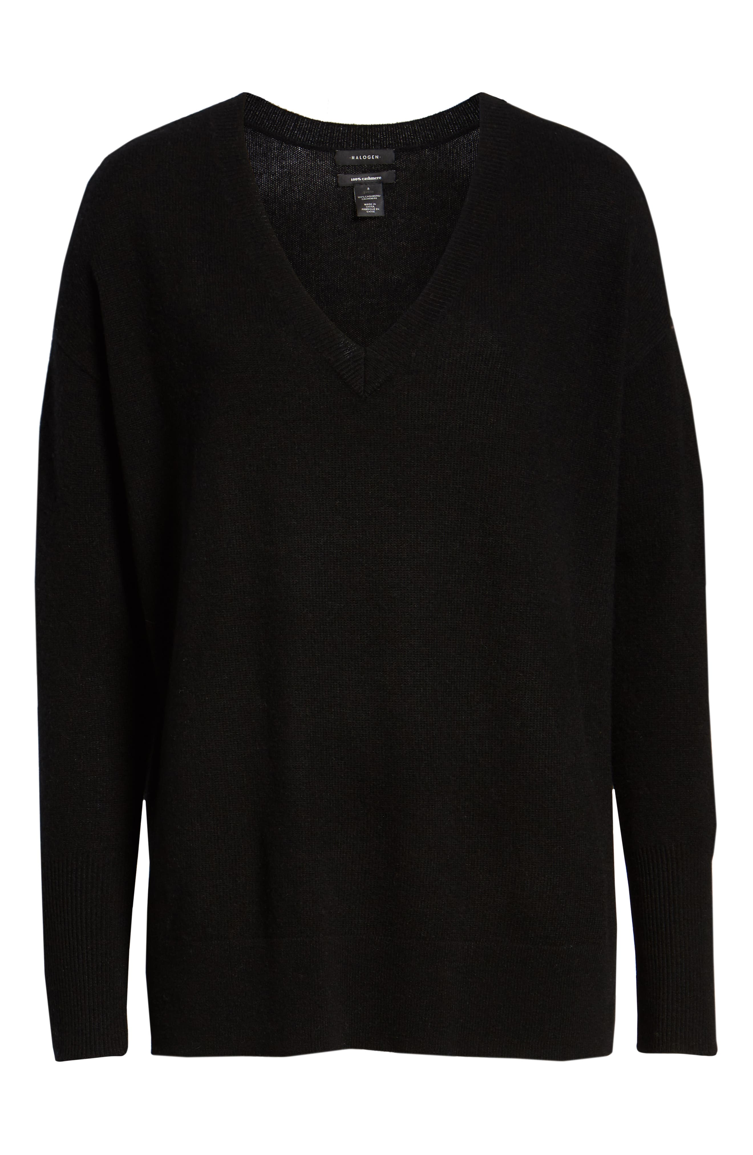 ,                             Relaxed V-Neck Cashmere Sweater,                             Alternate thumbnail 13, color,                             001