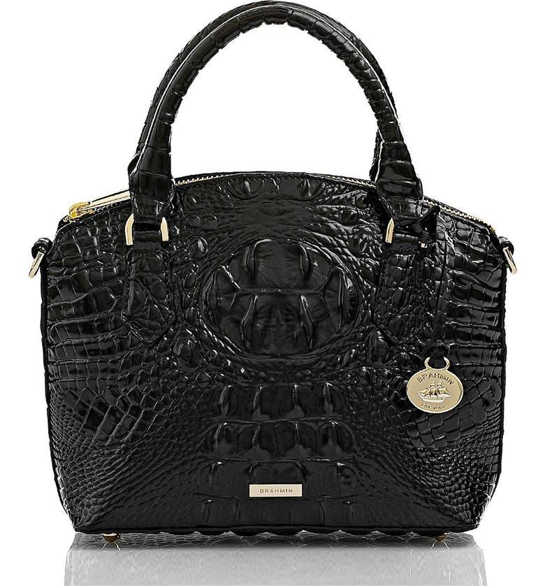 BRAHMIN Mini Duxie Croc Embossed Leather Crossbody Bag, Main, color, 001