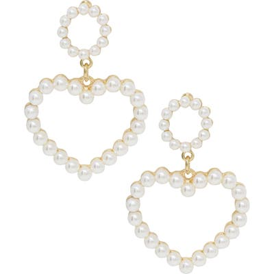 Ettika Imitation Pearl Heart Earrings