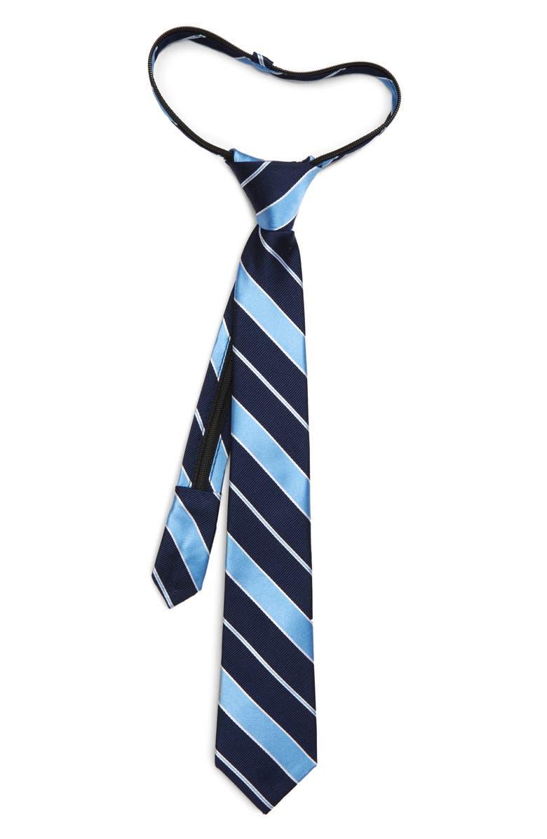 NORDSTROM Harvey Stripe Silk Zipper Tie, Main, color, BLUE