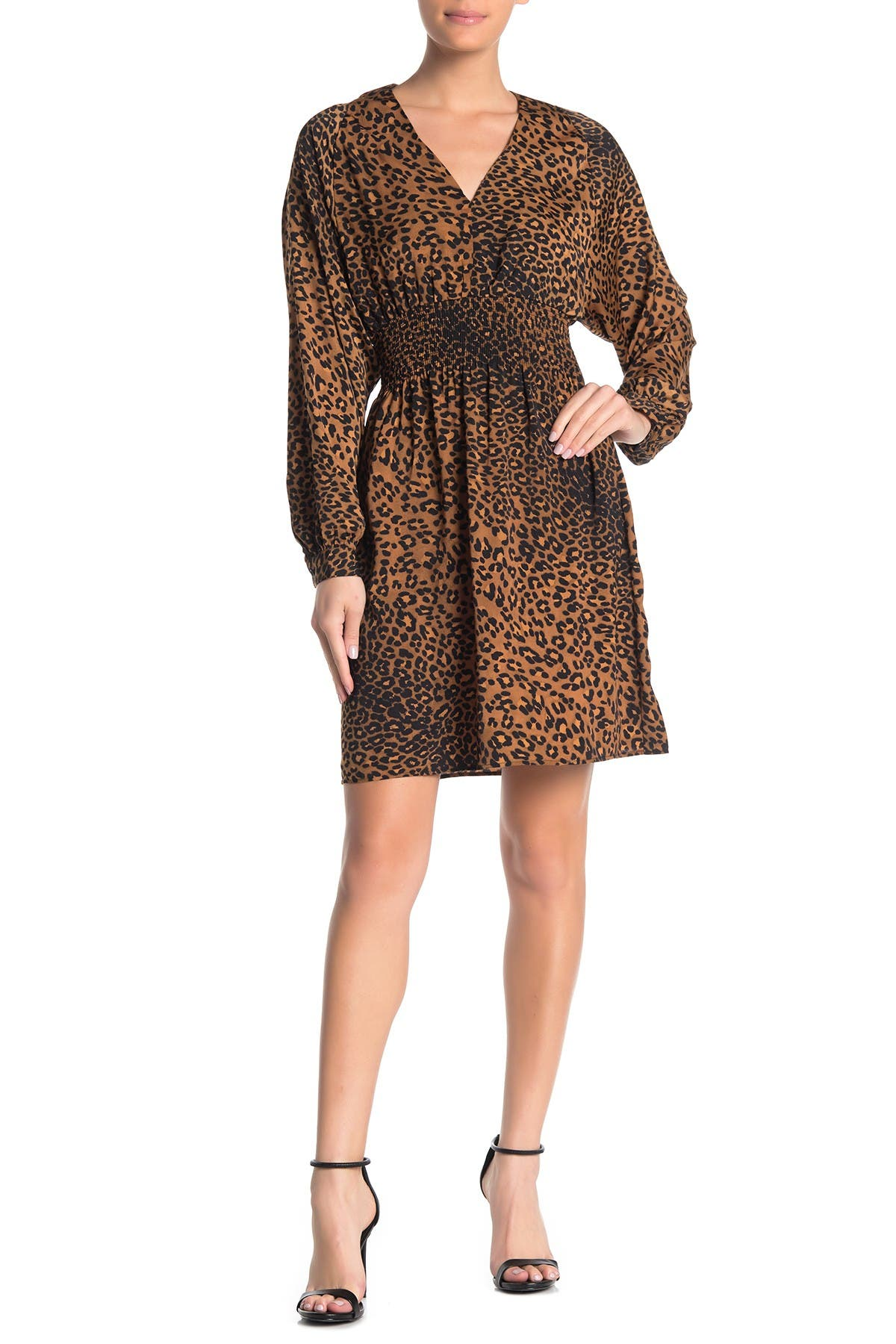 Image of ELAN Leopard Print Smocked Waist Dress