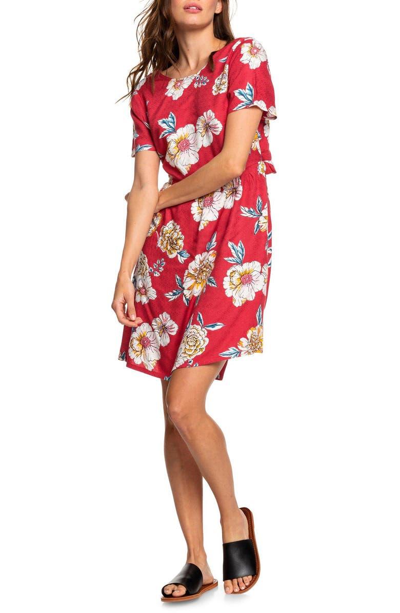 ROXY Hello Cilento Back Cutout Minidress, Main, color, DEEP CLARET SEPT