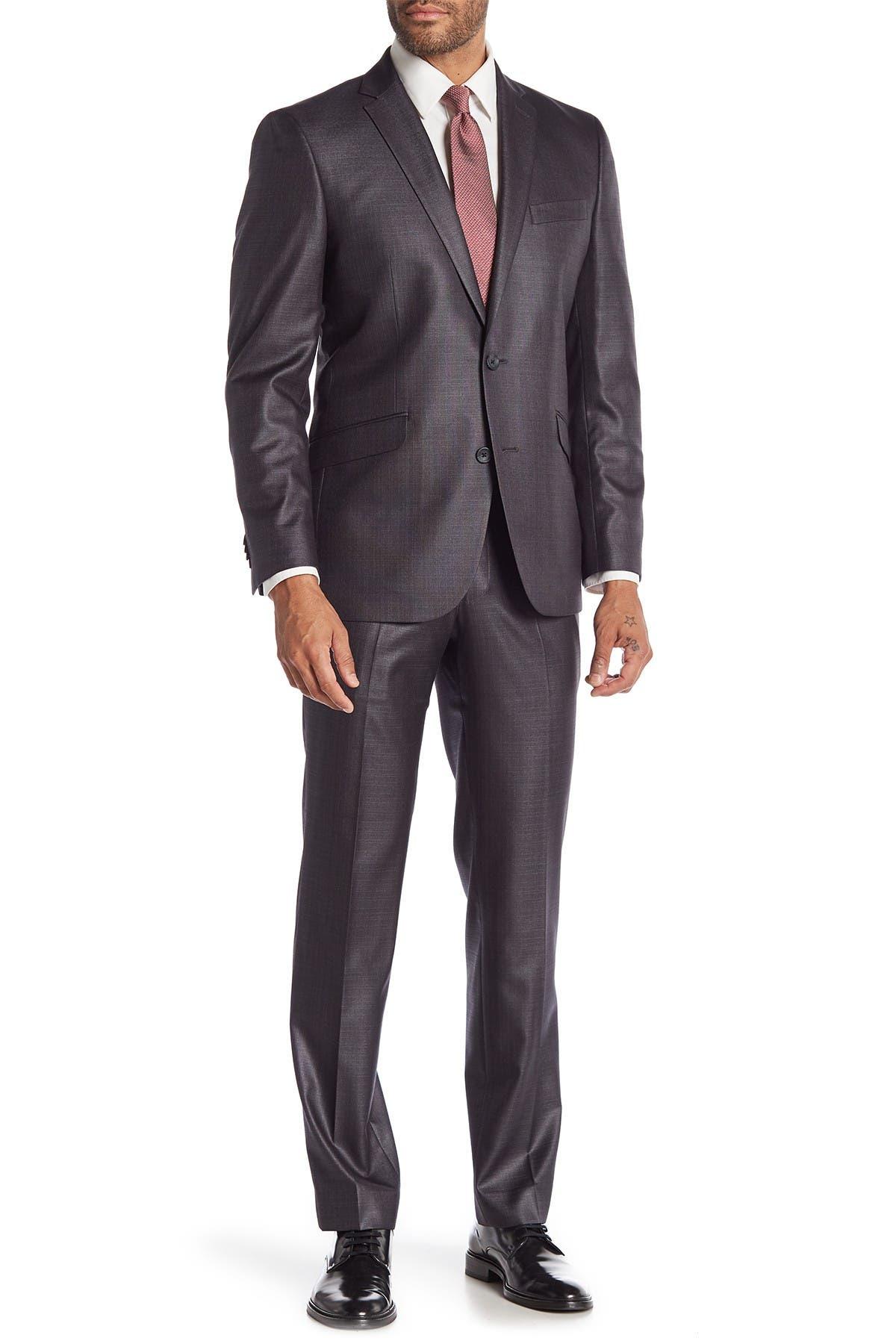 Image of Kenneth Cole Reaction Techni-Cole Basketweave Notch Lapel Performance Stretch Slim Fit Suit