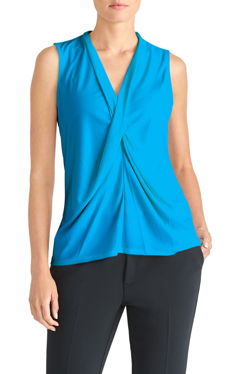 RACHEL ROY COLLECTION Drape Front Shell, Main, color, VIBRANT AZUL