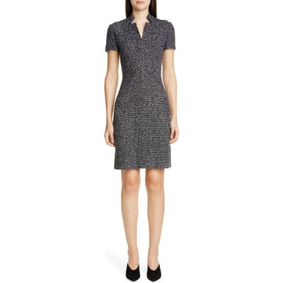 St. John Collection Textured Boucle Tweed Dress, Black