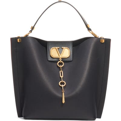 Valentino Garavani Go Logo Escape Leather Hobo Bag - Black