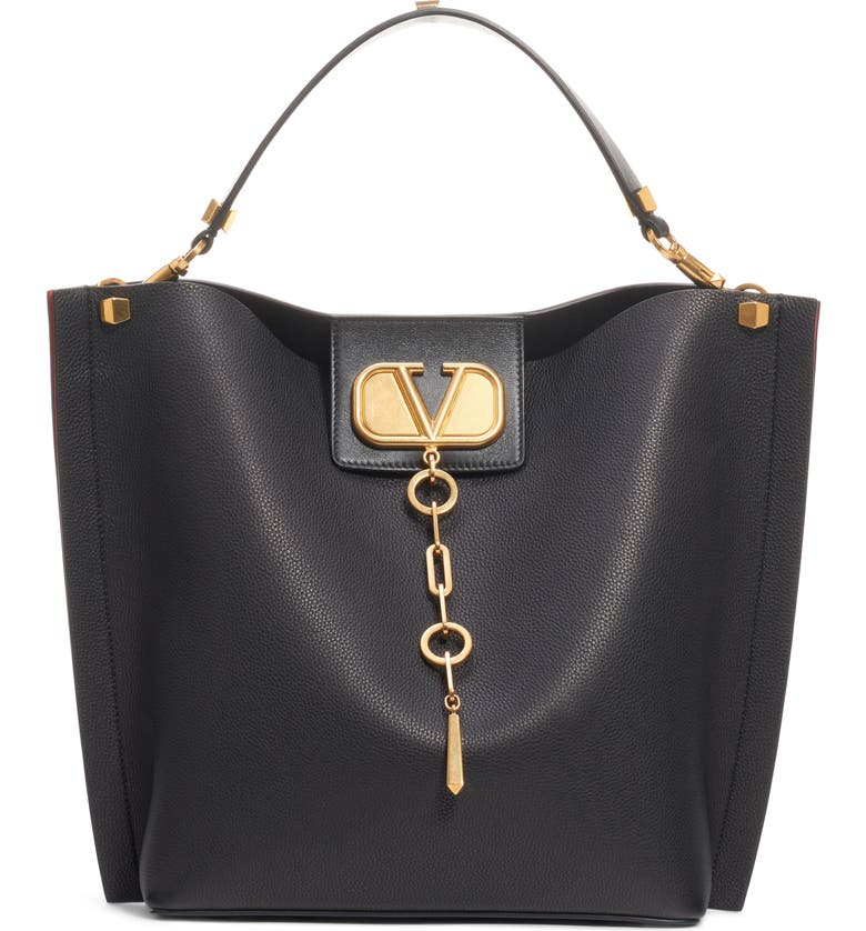 VALENTINO GARAVANI Go Logo Escape Leather Hobo Bag, Main, color, NERO