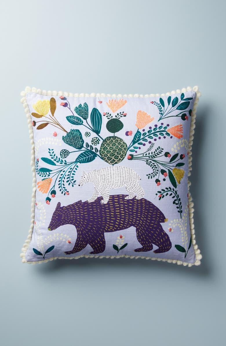 ANTHROPOLOGIE Margita Bear Print Accent Pillow, Main, color, BLUE
