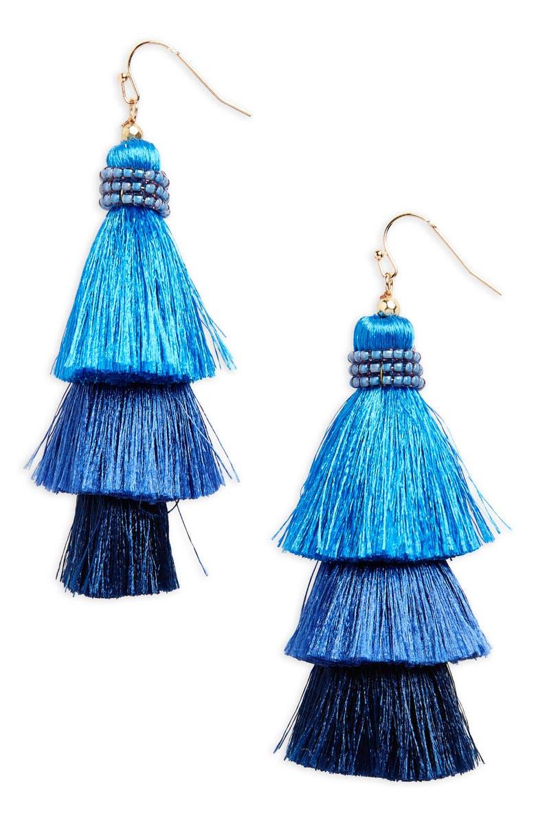 PANACEA Tiered Tassel Earrings, Main, color, 410