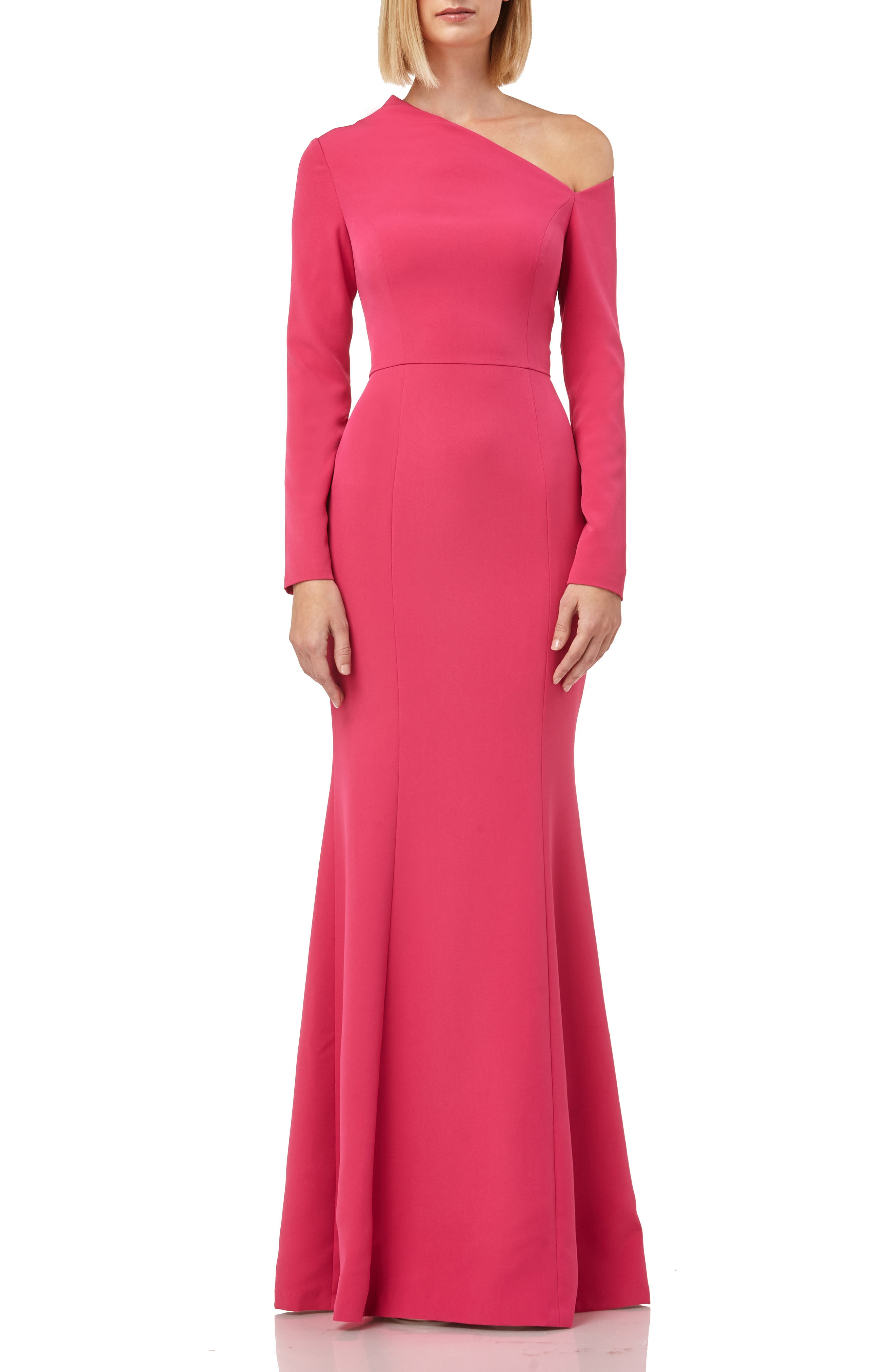 Kay Unger Asymmetrical Neck Long Sleeve Mermaid Gown, Coral