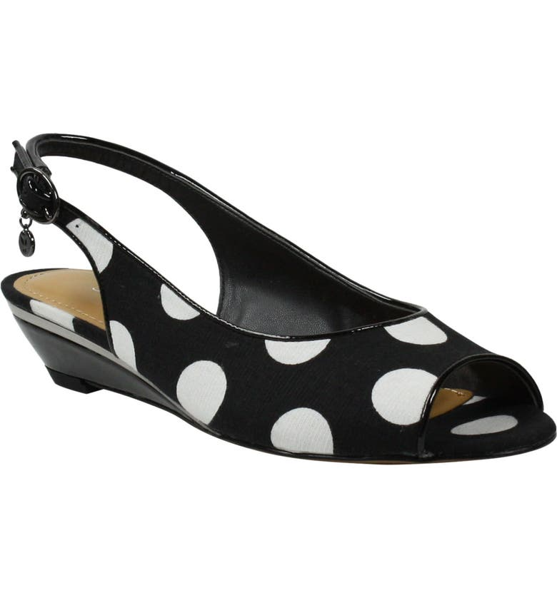 J. RENEÉ Elleyette Slingback Sandal, Main, color, BLACK/ WHITE POLKA DOT FABRIC