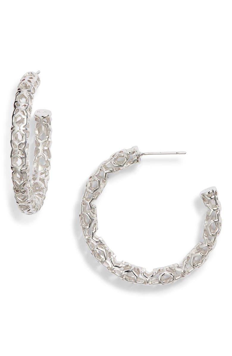 Maggie Medium Hoop Earrings, Main, color, RHODIUM FILIGREE