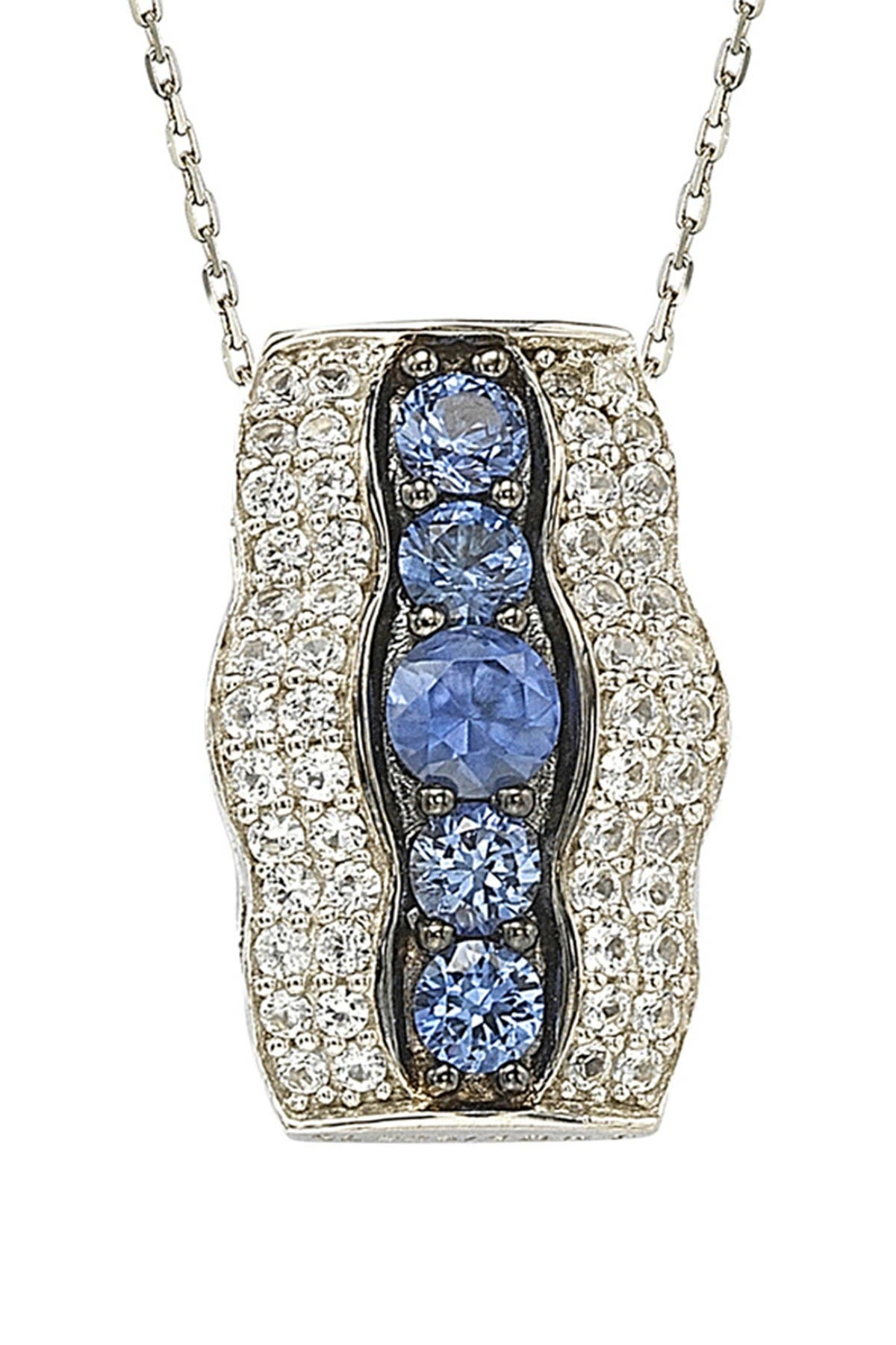 Image of Suzy Levian Two-Tone Blue Sapphire, Created White Sapphire, & Brown Diamond Pendant Necklace