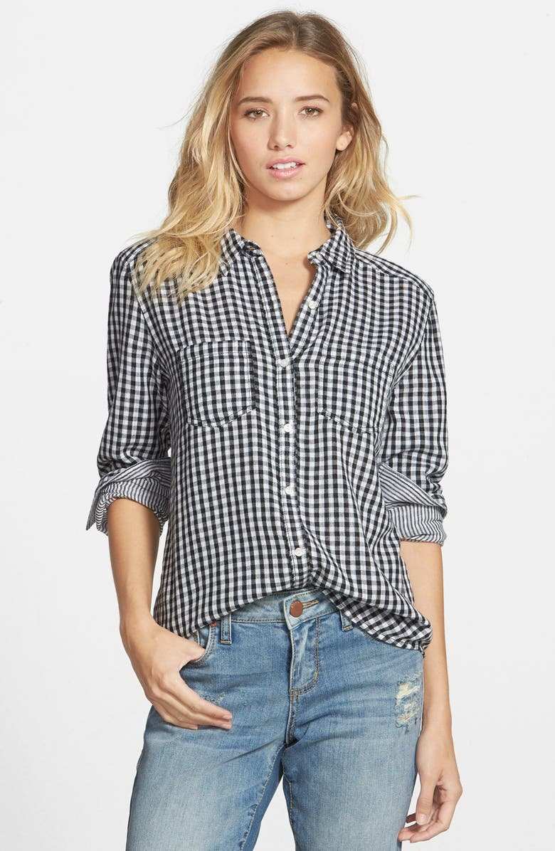 BP. Double Layer Gingham Shirt, Main, color, 001