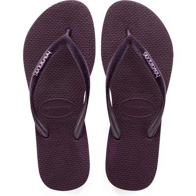 Havaianas Slim Velvet Flip Flop, 1/42 BR - Purple