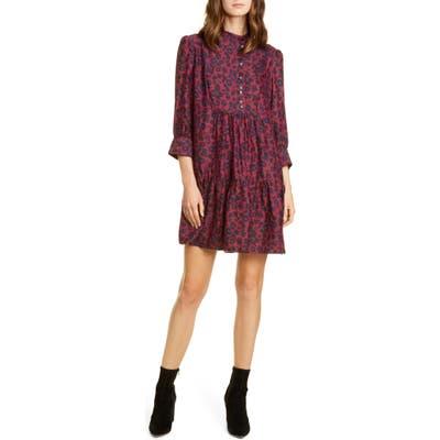Ba & sh Tiana Leopard Print Babydoll Dress, Red