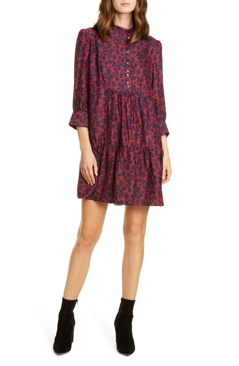 BA&SH Tiana Leopard Print Babydoll Dress, Main, color, 600