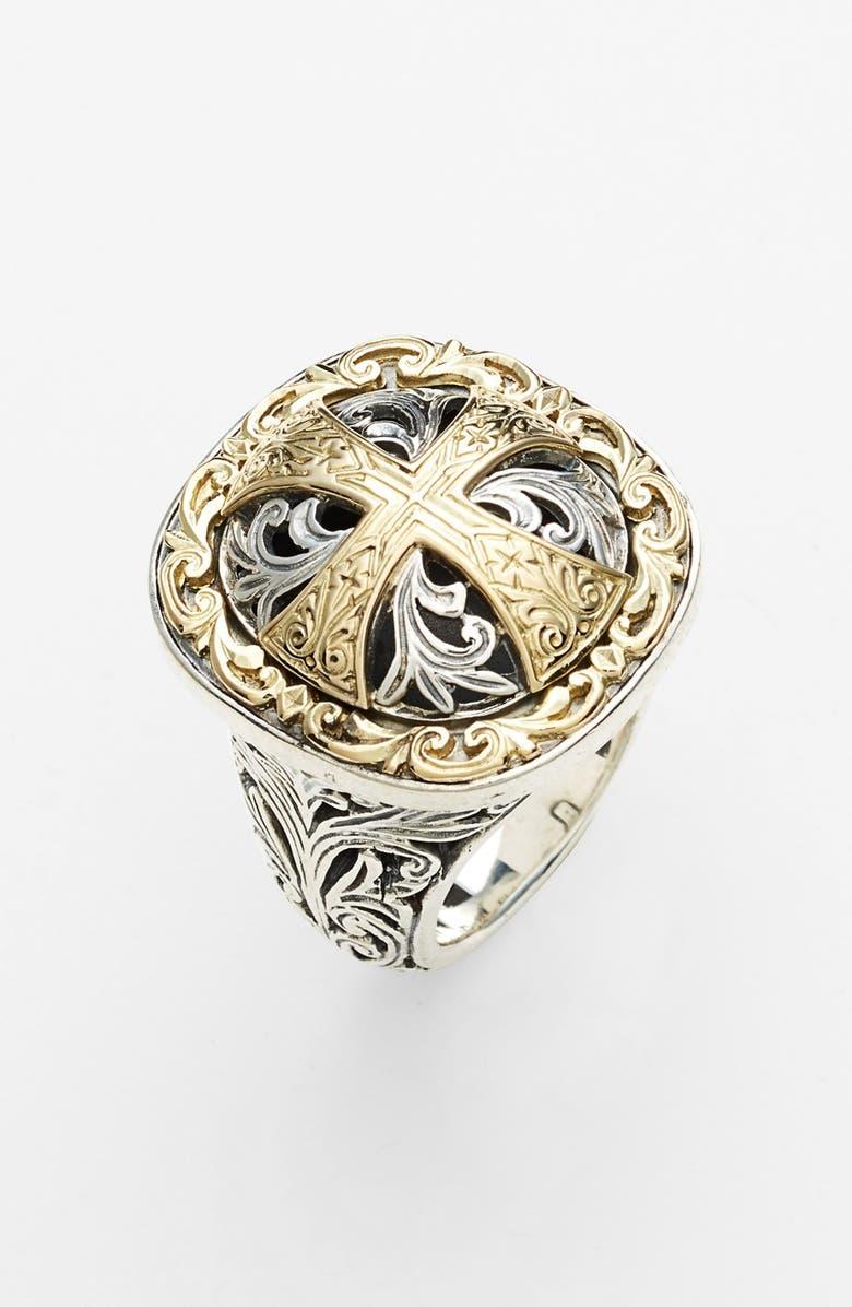 KONSTANTINO 'Classics' Cross Two-Tone Ring, Main, color, SILVER/ GOLD