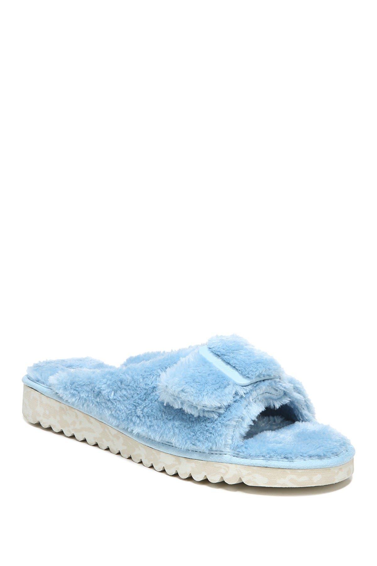 Dr. Scholl's Staycay Og Faux Fur Buckle Slide Sandal In Blue