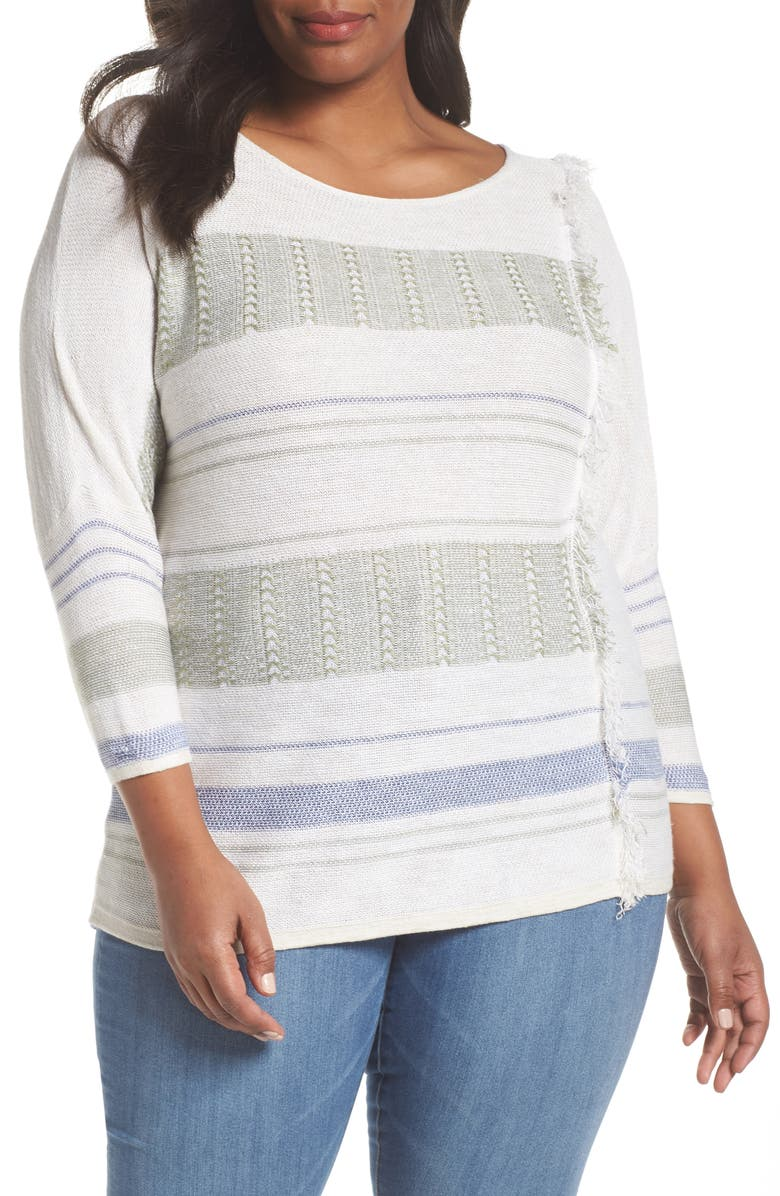 NIC+ZOE Juniper Fringe Stripe Linen Blend Sweater, Main, color, MULTI