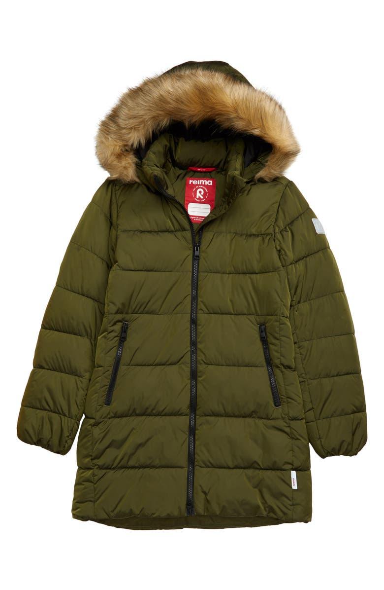 REIMA Lunta Khaki Waterproof Jacket with Faux Fur Trim, Main, color, GREEN