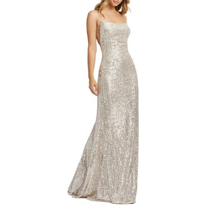 MAC Duggal Sequin Strappy Back Gown, Metallic