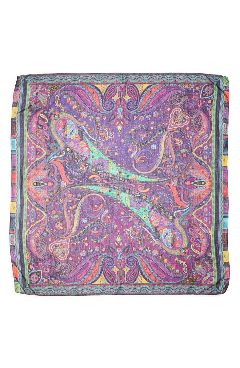 ETRO Scialle Bombay Paisley Wool & Silk Scarf, Main, color, PURPLE