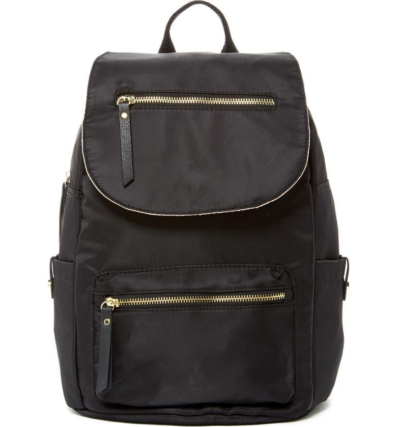 MADDEN GIRL Proper Flap Nylon Backpack, Main, color, BLACK