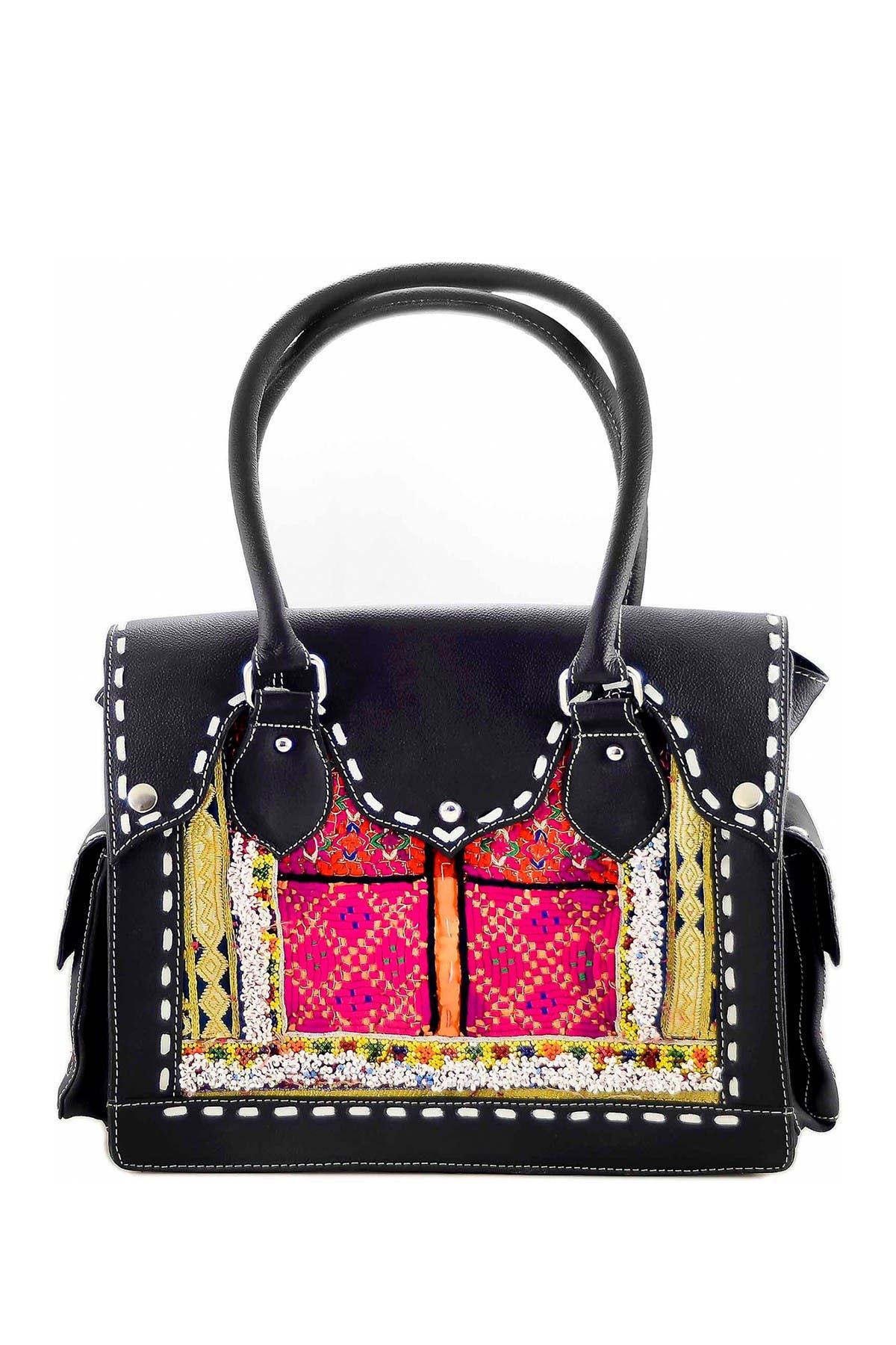 Image of Vintage Addiction Leather & Vintage Fabric Shoulder Bag