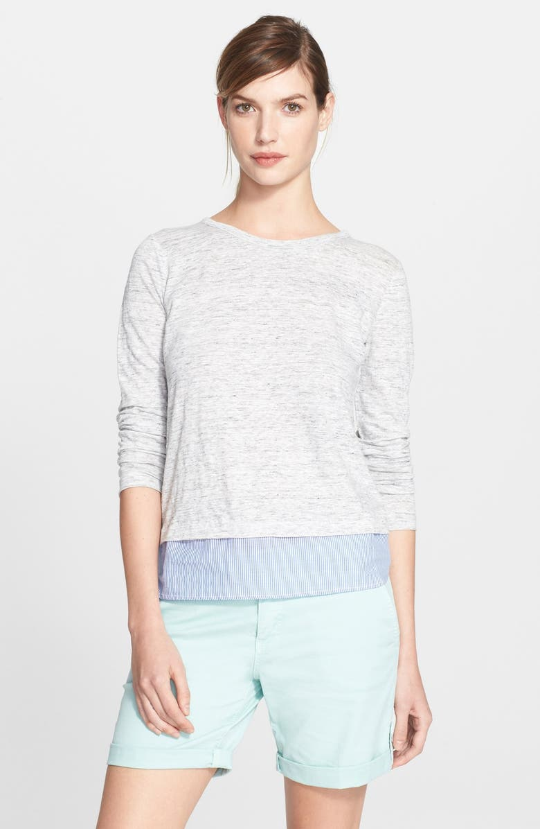 TORY BURCH Woven Hem Stripe Linen Pullover, Main, color, 020