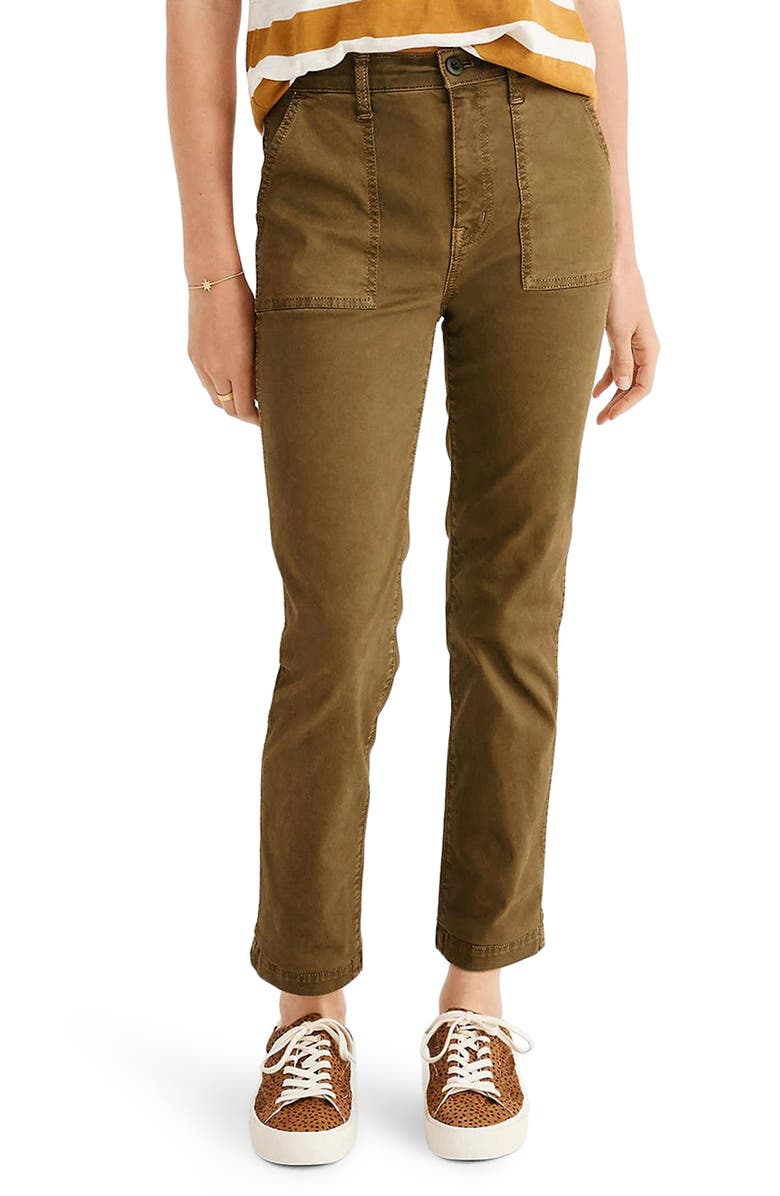 MADEWELL Stovepipe Fatigue Pants, Main, color, VINTAGE MOSS