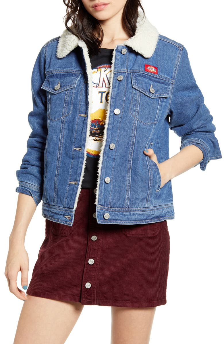 DICKIES Faux Shearling Lined Denim Jacket, Main, color, MEDIUM ANTIQUE