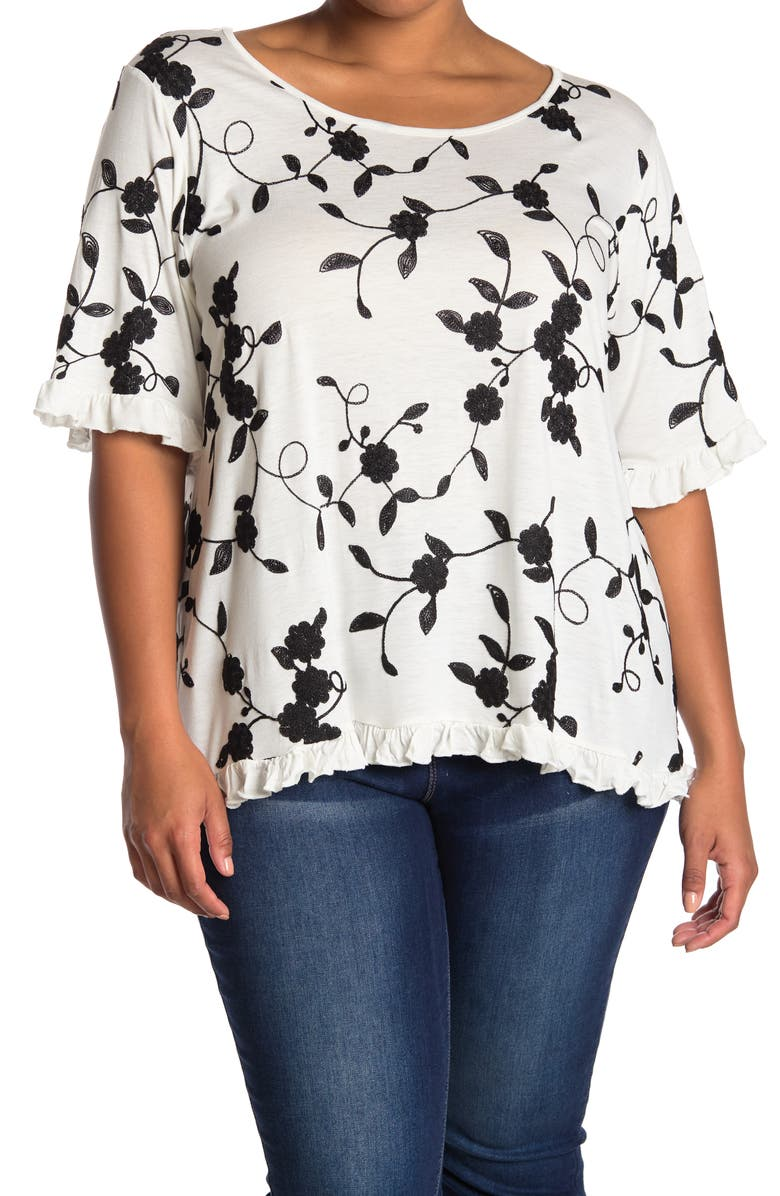 FORGOTTEN GRACE Elbow Sleeve Embroidered Ruffle T-Shirt, Main, color, BLACK/WHITE