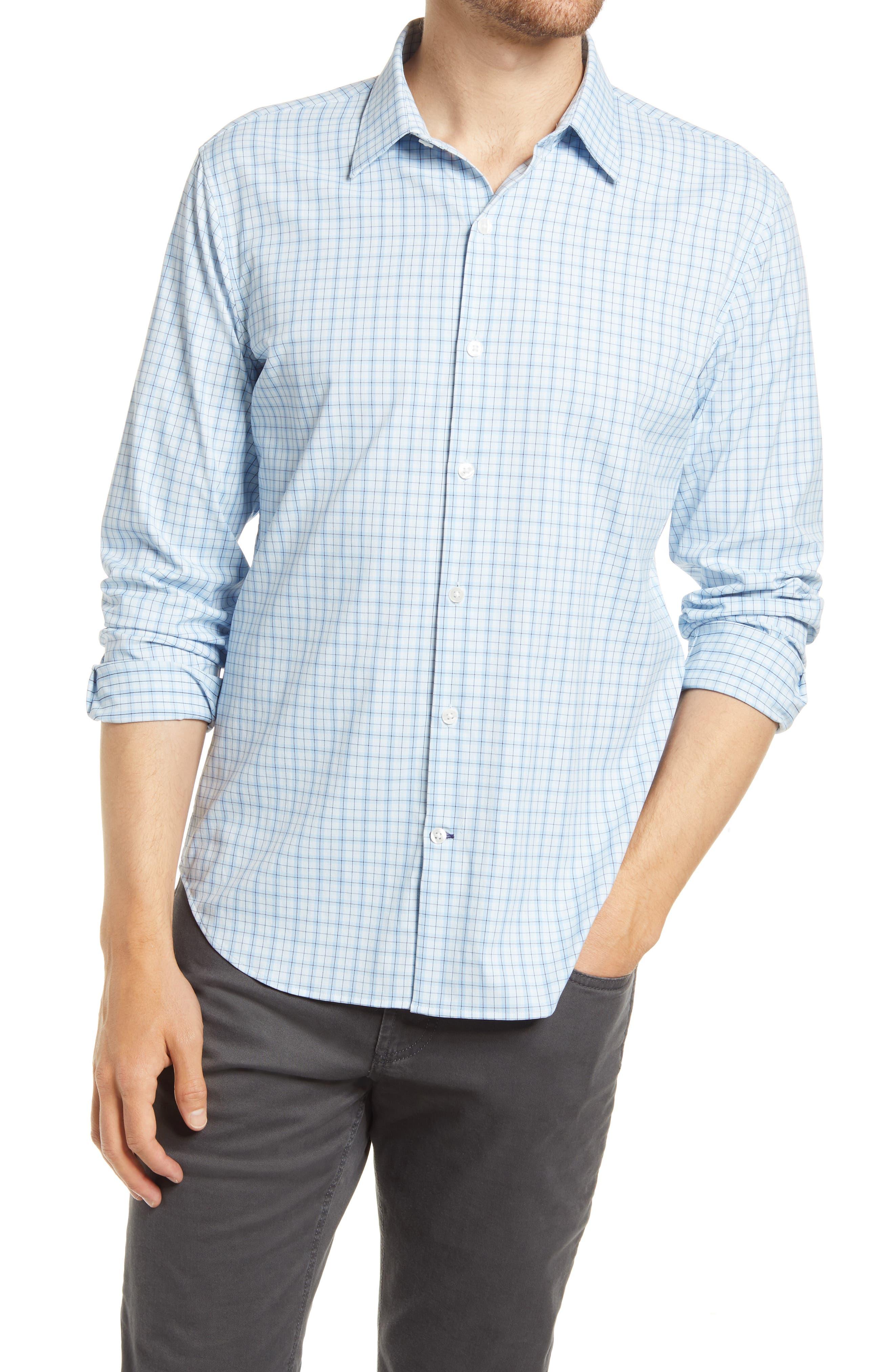 Slim Fit Tech Stretch Check Button-Up Shirt