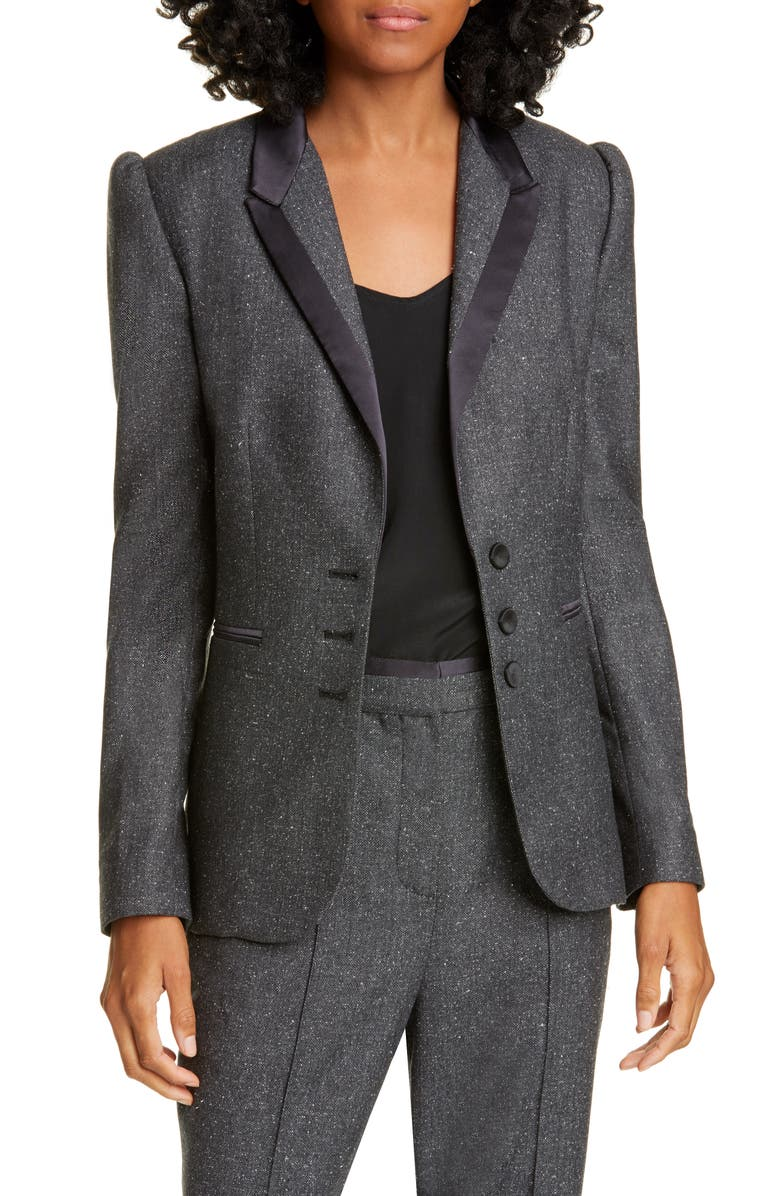 TAILORED BY REBECCA TAYLOR Herringbone Blazer, Main, color, CHARCOAL