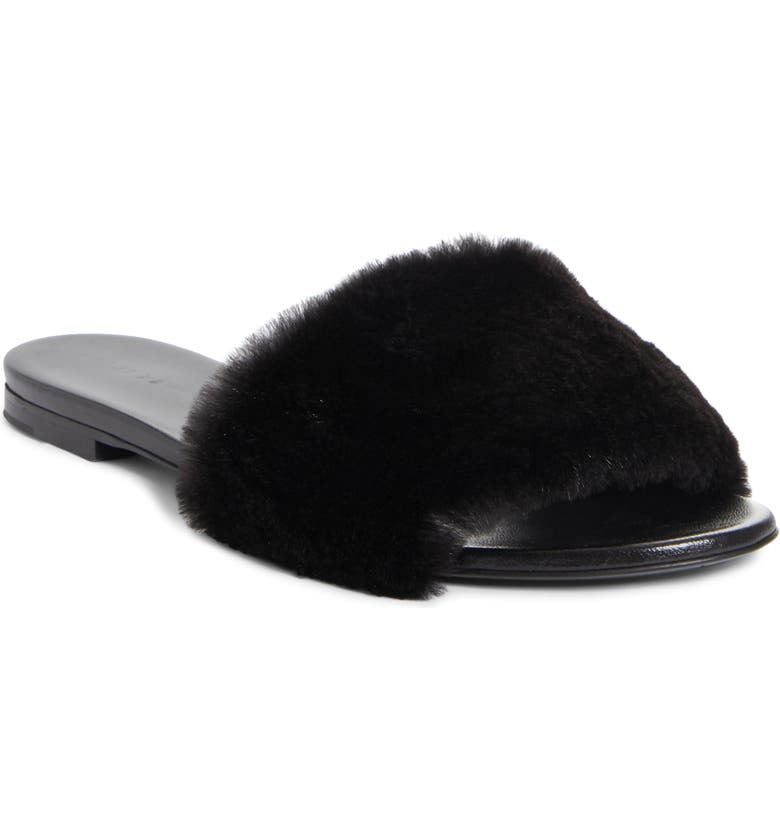 JENNI KAYNE Genuine Mink Fur Slide Sandal, Main, color, BLACK