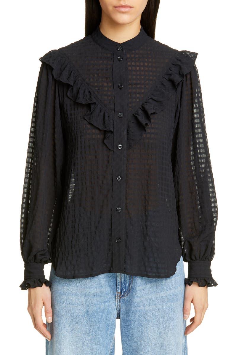 GANNI Ruffle Detail Seersucker Shirt, Main, color, BLACK