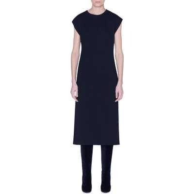 Akris Reversible Bicolor Cashmere & Silk Midi Dress, Black