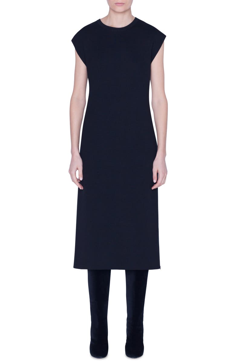 AKRIS Reversible Bicolor Cashmere & Silk Midi Dress, Main, color, BLACK-PINE