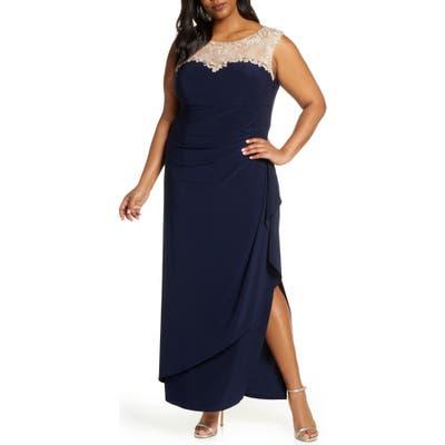 Plus Size Alex Evenings Beaded Lace Neck Evening Dress, Blue