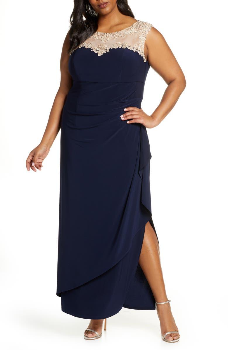 ALEX EVENINGS Beaded Lace Neck Evening Dress, Main, color, 410