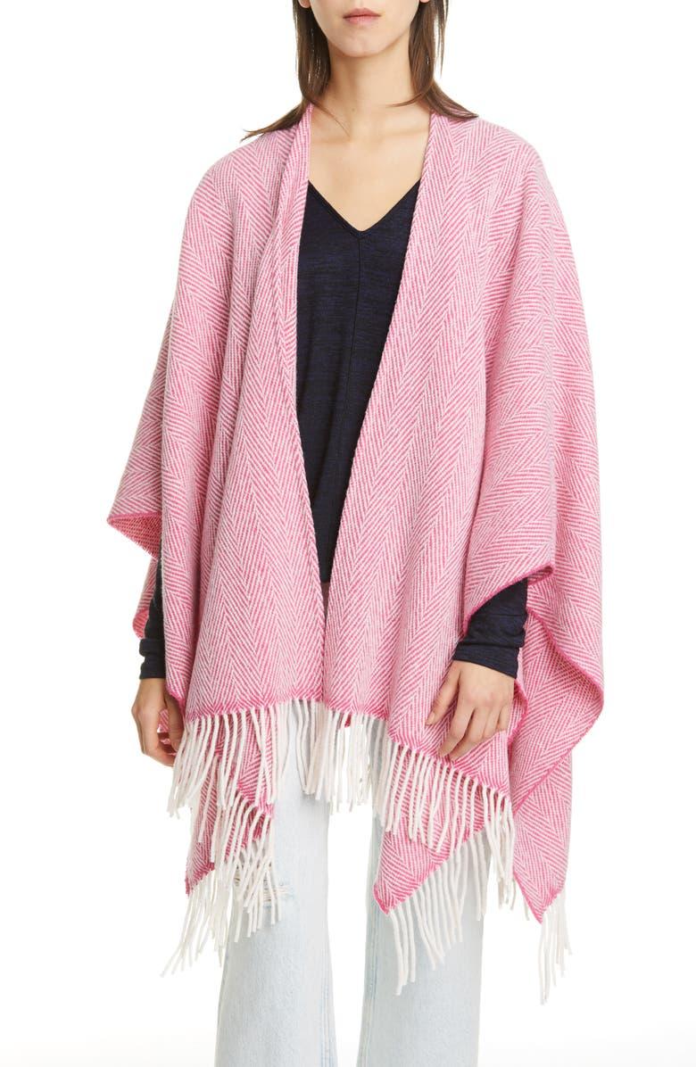 RAG & BONE Herringbone Wool Blend Poncho, Main, color, PINK MULTI