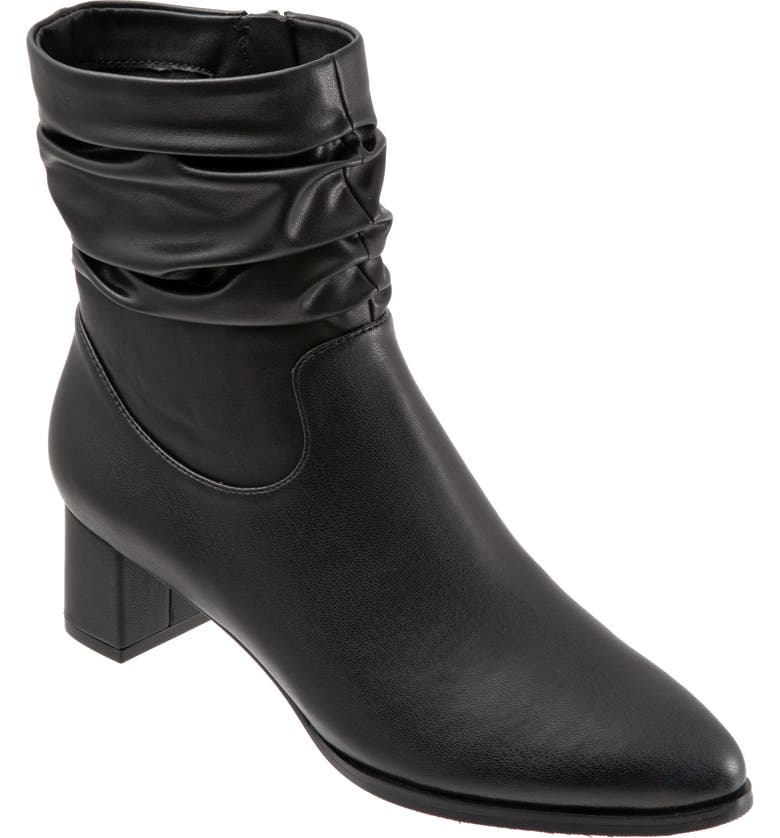 TROTTERS Krista Slouchy Bootie, Main, color, BLACK FAUX LEATHER