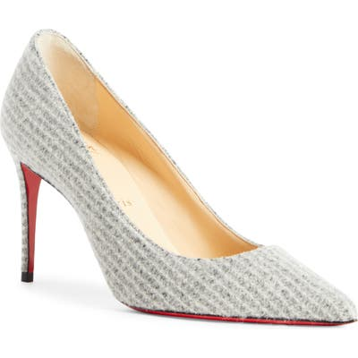 Christian Louboutin Kate Flanelle Pointy Toe Pump, Grey