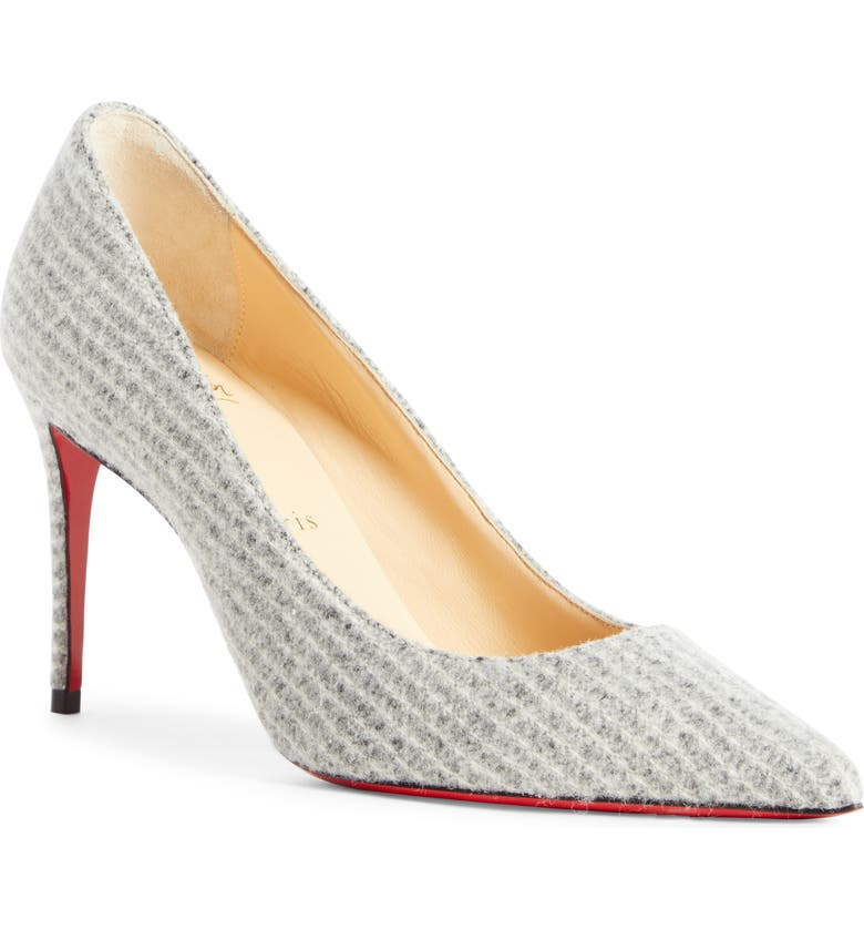 CHRISTIAN LOUBOUTIN Kate Flanelle Pointy Toe Pump, Main, color, GREY FLANNEL