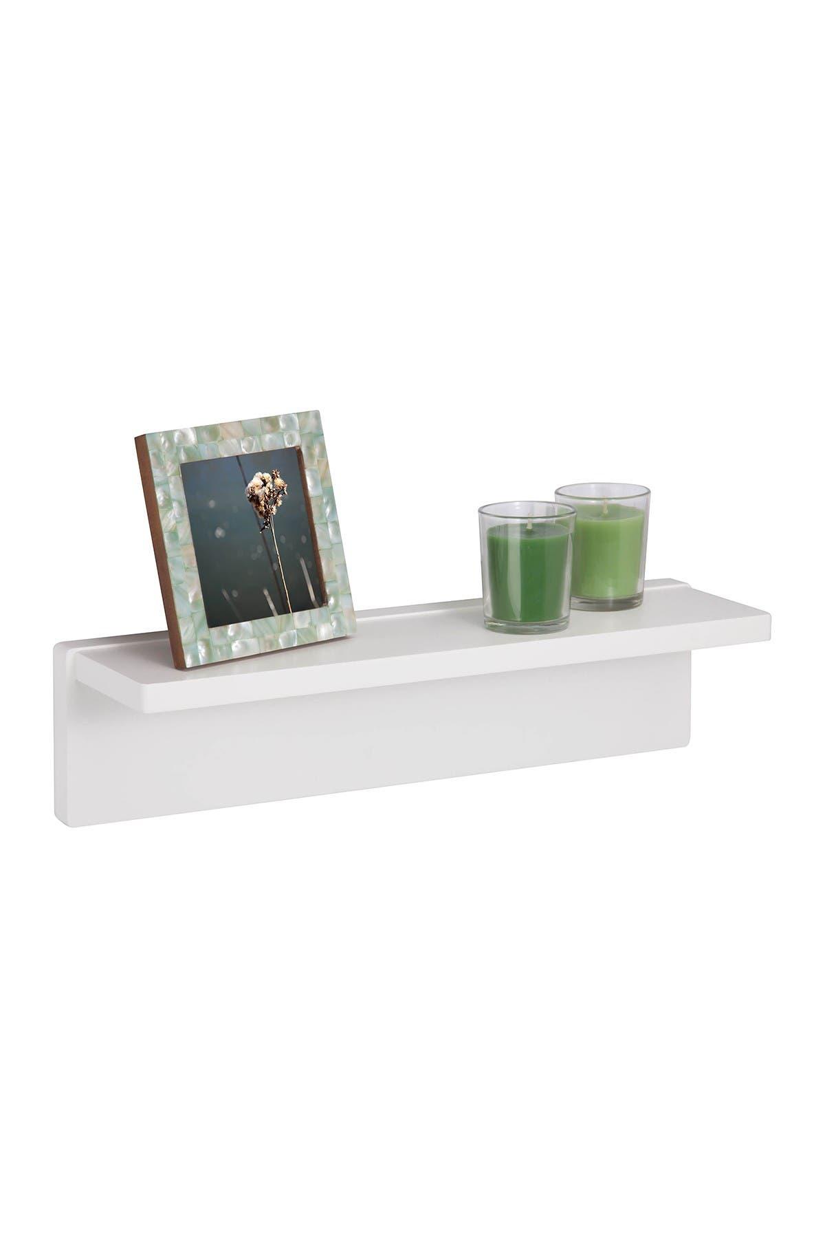 Image of Honey-Can-Do White L Shape Wall Shelf
